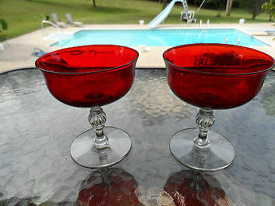 (2) Spanish Red Brilliant 4 1/4 Sherbets Goblets Elegant Morgantown Depression
