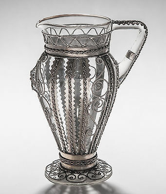 Antique Venetian Glass Jug Cased with White Metal Wire Mounts - Victorian c1890