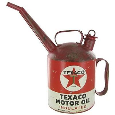 Texaco Motor Oil Can with Spout Vintage Style Decor