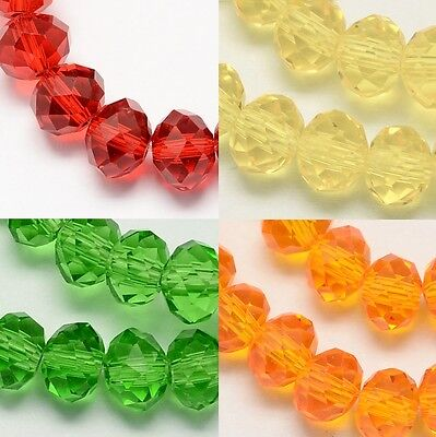 100 pcs  RONDELLE FACETED GLASS CRYSTAL BEADS 6mm SPRING COLOURS