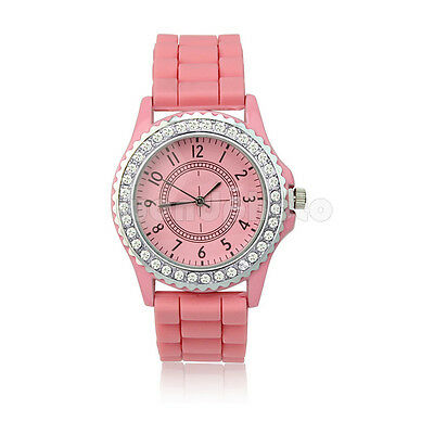 Fashion Candy Color Silicone Quartz Sport Jelly Rubber Wrist Watch Pink Hot Sale