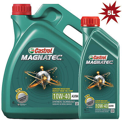 Castrol Magnatec 10W-40 A3/B4 Synthetic Car Engine Motor Oil - 4L+1L = 5 Litre