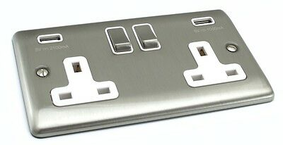 Brushed Chrome Sockets and Switches - White Trim (Definition)