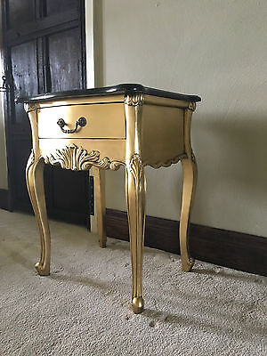 Mahogany Gold Leaf Black Marble French Shabby Chic Boudoir Bedside Side Table