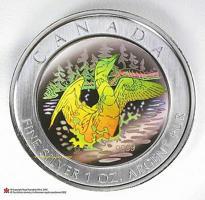 2002 $5 Canada Hologram 1 oz Fine Silver .999 Maple Leaf Loon Coin Tax (Exempt)
