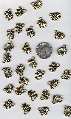 You Get 60 Gold Tone  Metal  Elephant Charms,  - From   U.s. Seller.  - C18