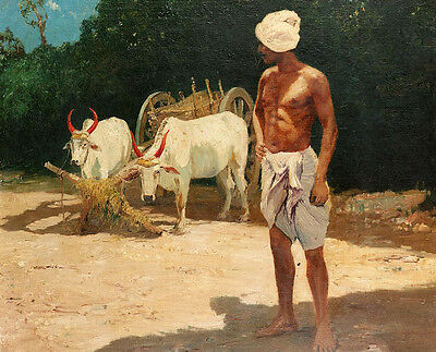 Oil painting naked farmer portrait with cows bullock-cart oxcart in summer view