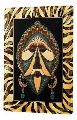 Tin Sign Wall Decor Adventurer  African mask Metal Plate 8X12""