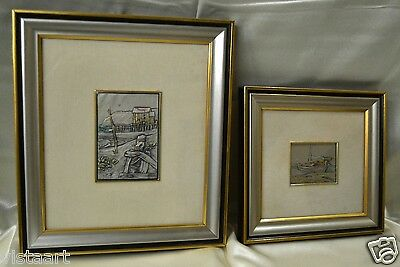 VINTAGE Italian Pair of Hand-Hammered Engraved Art on 925 Sterling Silver- 14x12