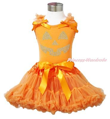 Halloween Party Rhinestone Pumpkin Face Orange Top Pettiskirt Girl Outfit 1-8Y