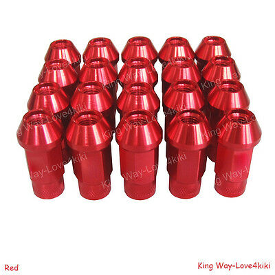 NEW RED 20PCS ALUMINUM EXTENDED TUNER LUG NUTS FOR WHEELS/RIMS M12X1.5 L:50mm