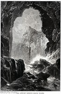 Lydstep Caverns. Pembrokeshire. South Wales. United Kingdom. Stampa Antica. 1878