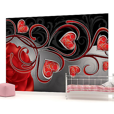 WALL MURAL PHOTO WALLPAPER (303PP) Red Hearts Art Abstract