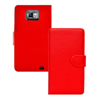 Red WALLET Plain Leather Phone Case for Samsung Galaxy S2 II GT-I9100 UK SELLER