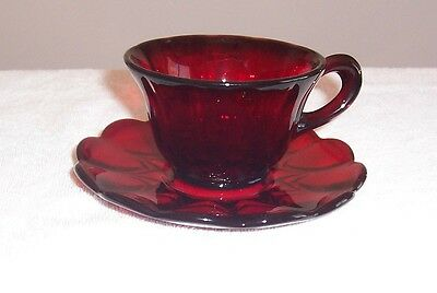 New Martinsville Red Janice Cup and Saucer Set