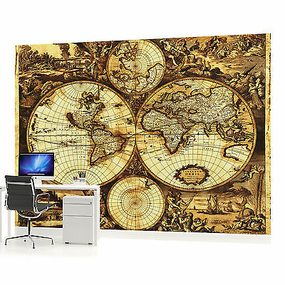 Vintage world map wallpaper mural poster retro globe atlas xxl wall vintage world map photo wallpaper wall mural room 571veve gumiabroncs Gallery