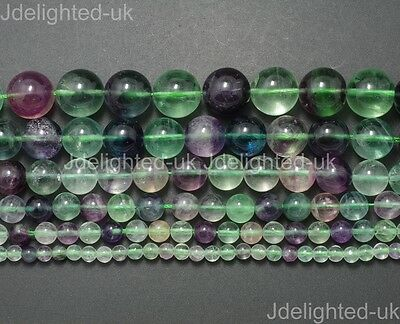 Natural Rainbow Fluorite Gemstone Round Beads 4mm 6mm 8mm 10mm 12mm 14mm 15.5''