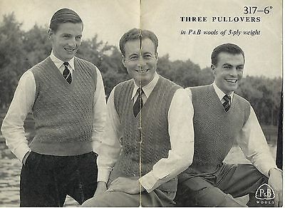 Vintage 50s Knitting Pattern Patons P&B 317 3 Man's Slipovers Cable 3 Ply