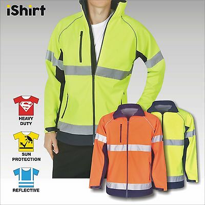 Hi Vis Safety Jacket Soft Shell Reflective Waterproof Windproof Day & Night Use
