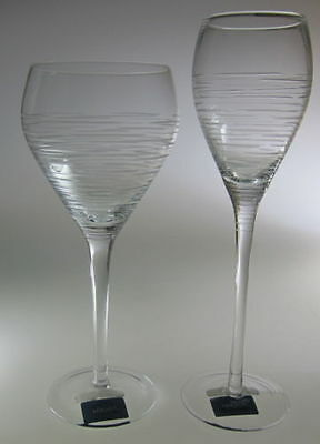 Mikasa Crystal Harmony Lot of 1 Water Goblet & 1 Champagne Flute Glass  NEW