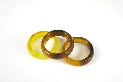 R+4157 1pc. 100% Authentic Handcrafted Natural Yellow & Black Agate ring Sz 6.75