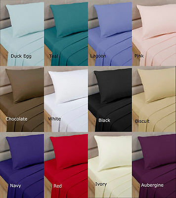 Luxury Plain Dyed Poly Cotton  Bed Cover Frill Valance Sheets  All Sizes
