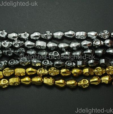 Natural Hematite Gemstone Carved Skull Spacer Beads Metallic Silver Gold 15.5""