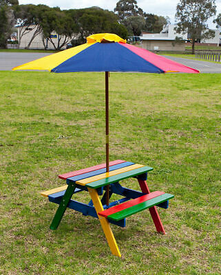 Kids Picnic Table Setting w/ Umbrella, Wooden Children Garden Park Outdoor Kid