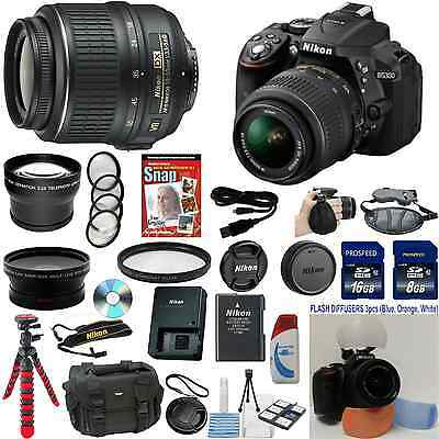 Nikon D5300 DSLR Camera (Import) + 18-55VR + W/A + Tele + 7 Lens 24GB Bundle