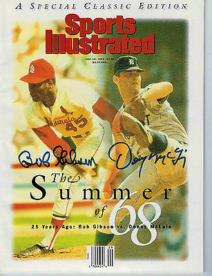 BOB GIBSON & DENNY MCLAIN Signed Sports Illustrated July 19, 1993