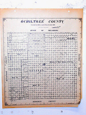 Old Ochiltree County Texas General Land Office Owner Map Perryton Booker Waka