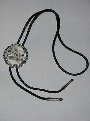 National Jamboree 1977 Coin Bolo Tie w/ Leather Cord  BSA