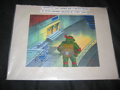 "Authentic ""Cel"" Signed And A Sketch Drawn Teenage Mutant Ninja Turtles"