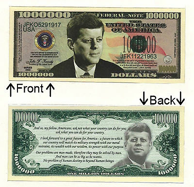 Proud American One Million Dollars Novelty Bill Notes 1 5 25 50 100 500 or 1000