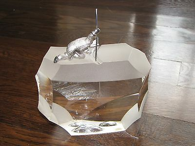"STEUBEN ""Arctic Fisherman"" Glass Crystal 7""x6"" Signed 1023 JH"
