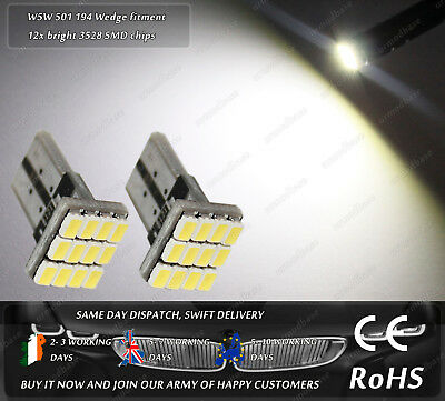 2x T10 LED W5W 501 White Wedge Car Under Door Dome Lights Number Plate Bulbs 12v