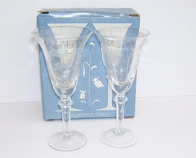 Boxed Set of 2 LS+A Hand Made Engraved Sherry Glasses.