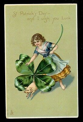 Ireland ST PATRICK'S DAY Girl Pig 4 leaf clover Tuck #6954 Greetings PPC
