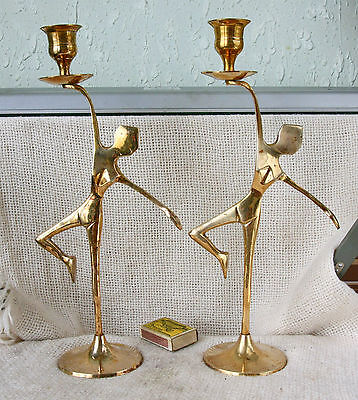 ANTIQUE Art Deco Pair Solid BRONZE BRASS Statuette CANDLESTICK CANDLE HOLDER
