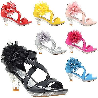 Girl's Sandals High Heel Dress Rhinestone Strappy Patent Leather Flower Kid Shoe