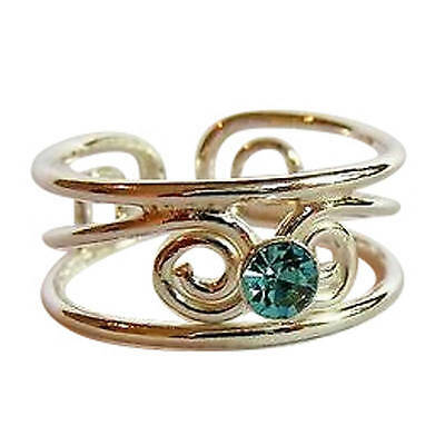 Sterling Silver (925) Adjustable   Blue Jewel Stone Toe  Ring !!   New !!