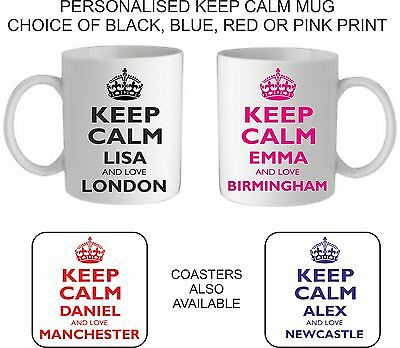 Personalised Keep Calm Love London England Scotland Mug/coaster Any Town/city