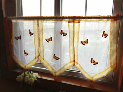 @ THREE Pieces Delicate Butterfly Embroidery Yellow Border Curtain 60cm Drop CL