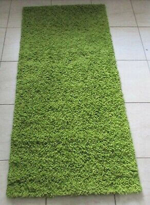 NEW PLAIN GREEN SHAG SHAGGY HEATSET FLOOR HALLWAY RUNNER RUG 67x140CM