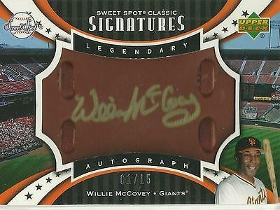 Willie McCovey 2007 Sweet Spot Classic Signatures Leather Gold Ink 1/15