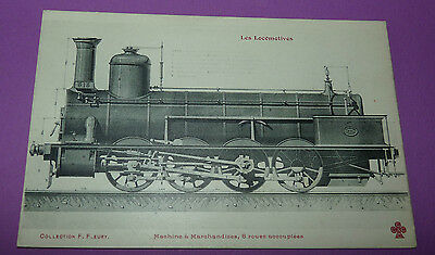 Postcard Cpa Locomotive Train Machine Marchandises 8 Roues Accouplées Rail