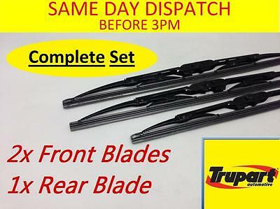Ford Ka Mk1 96-09 Front Rear Windscreen Wiper Blades X3 Complete Set (Rear Hook)