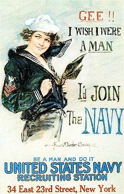 1918 I'd Join the Navy American Patriotic Wartime Advertisement Poster Print