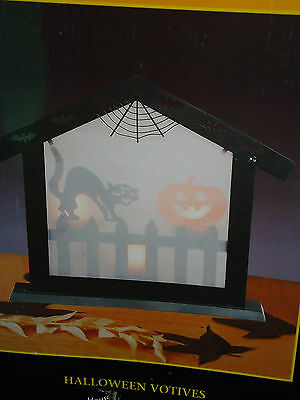 Halloween HOUSE WINDOW metal & frosted glass Votive Holder w/Box Black Cat....