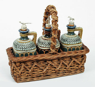 Rare Doulton Lambeth Stoneware Decanter Set in Original Wicker Basket - Antique